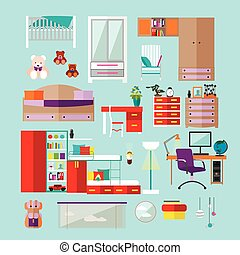 Kids bedroom interior objects in flat style. Vector illustration. House room design elements and icons