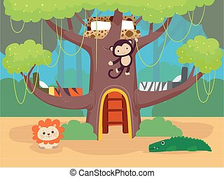 Kids Bedroom Jungle Theme Illustration