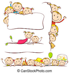 Kids behind Placard - illustration of many kids peeping...