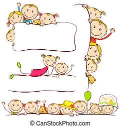 Kids behind Placard - illustration of many kids peeping...
