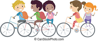Kids Bike - Illustration of Kids Biking to School