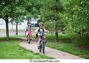 Kids Biking to School - May 9, 2012 - Arlington, Virginia,...