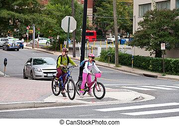 Kids Biking to School on Internation Walk and Bike to School Day