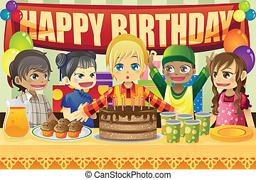 Kids birthday party - A vector illustration of multi-ethnic...