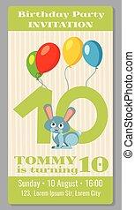 Kids birthday party cartoon animals invitation
