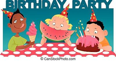 Kid's birthday party - Three cartoon kids at the table,...