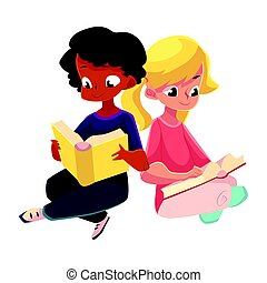 Kids, black, African boy and caucasian girl, reading books sitting