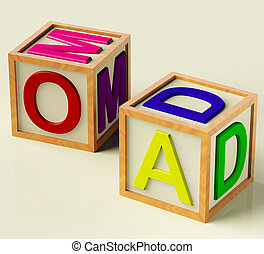 Kids Blocks Spelling Mom And Dad As Symbol for Parenthood