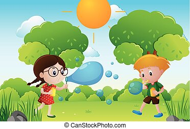 Kids blowing bubbles in the park illustration
