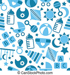 kids blue seamless pattern