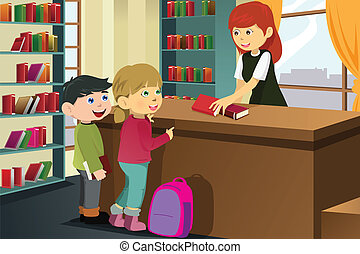 Kids borrowing books in the library - A vector illustration...