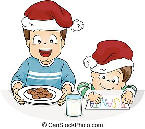 Kids Boy Cookies Milk For Santa Illustration