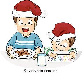 Kids Boy Cookies Milk For Santa Illustration