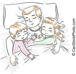 Kids Boy Girl Dad Sleep Illustration - Illustration of a...