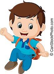 kids Boy with backpacks