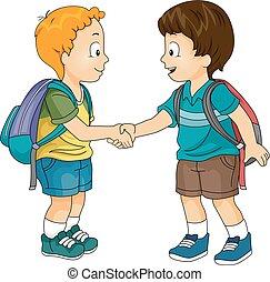 Kids Boys School Introduction - Illustration of Little Boys...