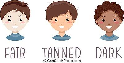 Kids Boys Skin Complexion Illustration