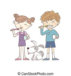 Kids brushing teeth together