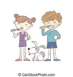 Kids brushing teeth together
