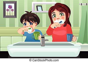 Kids brushing their teeth