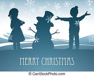 Kids Building Snowman Christmas Scene