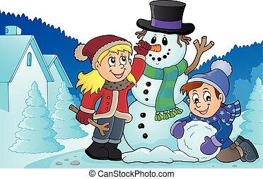 Kids building snowman theme image 3