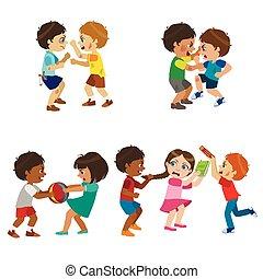 Kids Bullies Illustration - Kids Bullies Childish Cartoon...