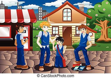 A vector illustration of kids bullying their friend