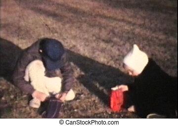 Kids Burning Leaves (1974 Vintage)