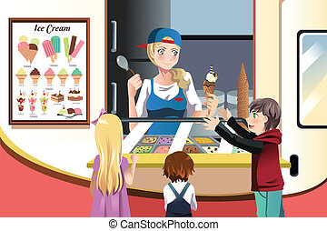A vector illustration of kids buying ice cream at an ice cream truck