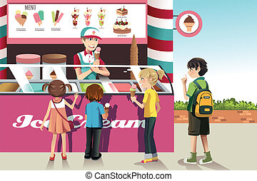 Kids buying ice cream - A vector illustration of kids buying...