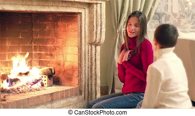 Kids By Fireplace