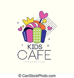 Kids cafe logo design, badge, label for childrens and baby food vector Illustration on a white background