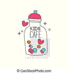 Kids cafe logo design, bright badge, label for childrens and baby food, restaurant, cafe vector Illustration on a white background