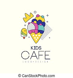 Kids cafe logo design, bright badge with ice cream, label for childrens and baby food vector Illustration on a white background