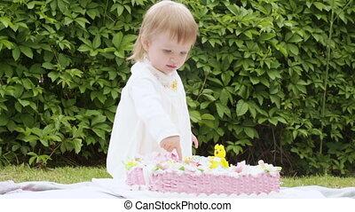 Kids cake with child