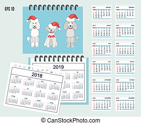 Kids calendar for wall or desk year 2018, 2019