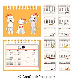 Kids calendar for wall or desk year 2018