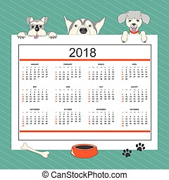 Kids calendar with funny cartoon dogs for wall year 2018