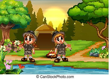 Kids camping background with sunset landscape