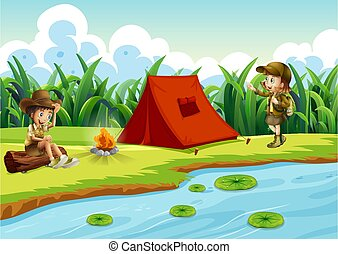 Kids camping by the water with a tent