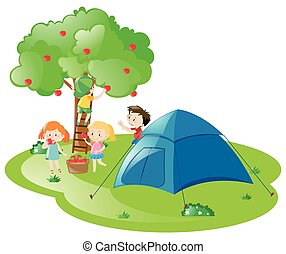 Kids camping out by the apple tree