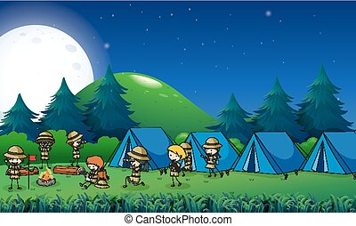Kids camping out in the forest