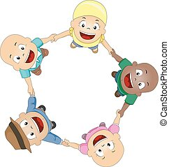 Illustration of Young Cancer Patients Forming a Circle