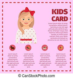 Kids card infographic with cute girl