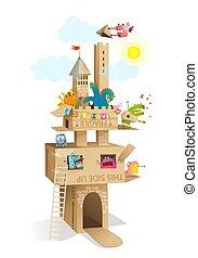 Kids Cardboard Castle Play Monsters Characters