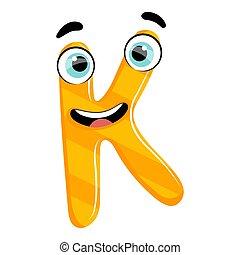 Kids cartoon alphabet. Cartoon cheerful letter K isolated on the white background. Flat style. Vector illustration