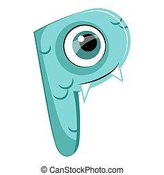 Kids cartoon alphabet. Cartoon cheerful letter P isolated on the white background. Flat style. Vector illustration