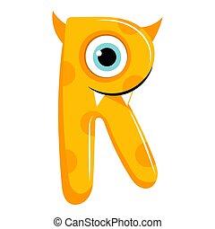 Kids cartoon alphabet. Cartoon cheerful letter R isolated on the white background. Flat style. Vector illustration