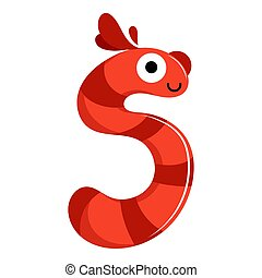 Kids cartoon alphabet. Cartoon cheerful letter S isolated on the white background. Flat style. Vector illustration
